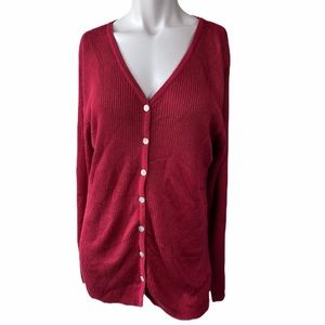 NWT|| Hillard and Hanson Woman's Red Cardigan 1X